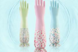 519(Five One Nine) 加绒洗碗手套加厚洗衣衣服胶皮冬季厨房刷碗家务手套 加绒粉*蓝(2件套)