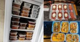 女子一次性备出一个月的伙食 冰箱放108个盒子