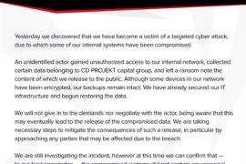 《赛博朋克2077》开发商遭黑客勒索 正面硬刚赢得赞扬