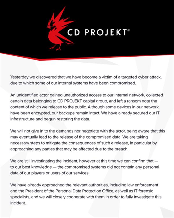 《赛博朋克2077》开发商遭黑客勒索 正面硬刚赢得赞扬 游戏资讯 第1张