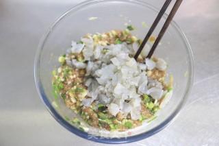 脆底喷香的猪肉大虾褡裢火烧的做法步骤 家常菜谱 第3张